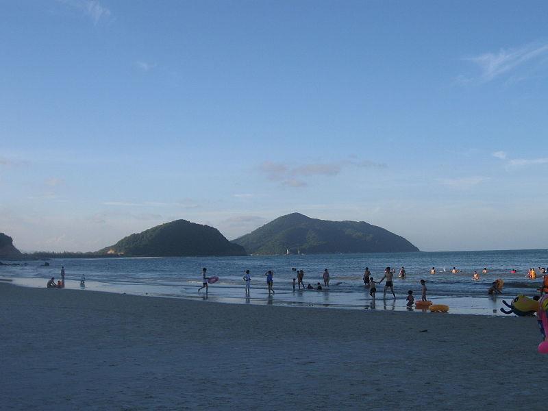 Bathing on Minh Chau Beach