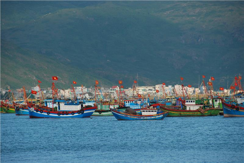 Fishing boats in Quy Nhon beach