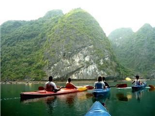 Dipping in Lan Ha Bay with beautiful kayaks