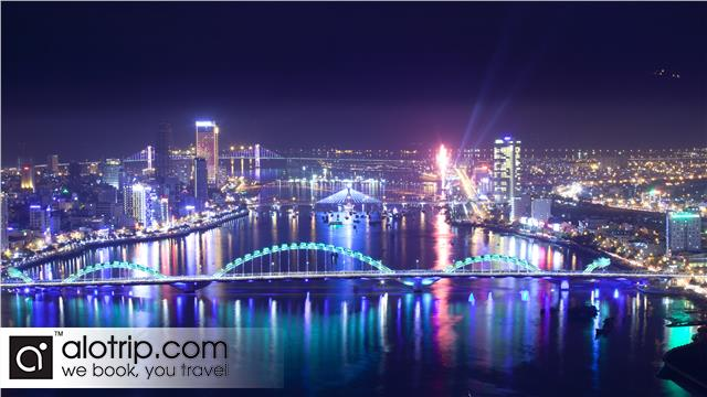 Da Nang City Panorama with Dragon Bridge