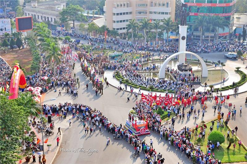 Exciting atmosphere of Buon Ma Thuot Coffee Festival in center squre in Dak Lak