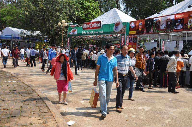 Coffee booths in the Coffee Fair