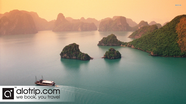 Halong Bay Panorama in the sunset
