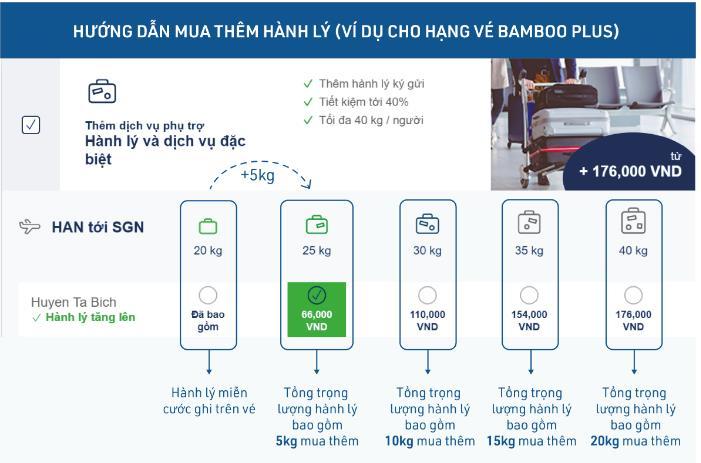 Hướng dẫn mua thêm hành lý ký gửi Bamboo Airways