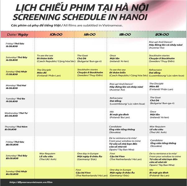 EU Film Festival Schedule 2015