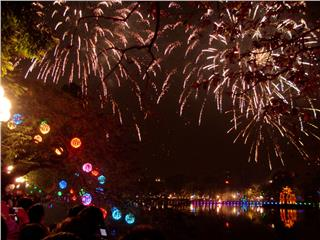 Firework display in Hanoi - 60th Anniversary of Hanoi Liberation Day