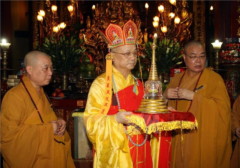 Thich Thanh Nha Monk at the praying ceremony