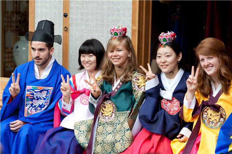 wearing Hanbok - traditional Korean costumes