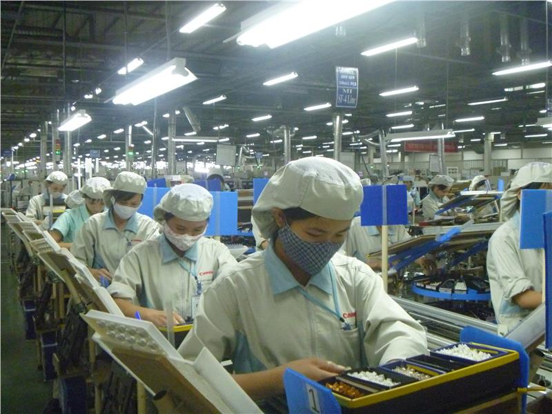 Workers in a Canon factory in Hanoi