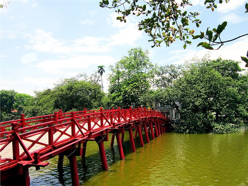 The Huc Bridge in front of Ngoc Son Temple