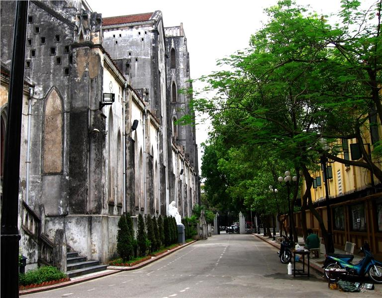 Back alley of St. Joseph Cathedral in Hanoi