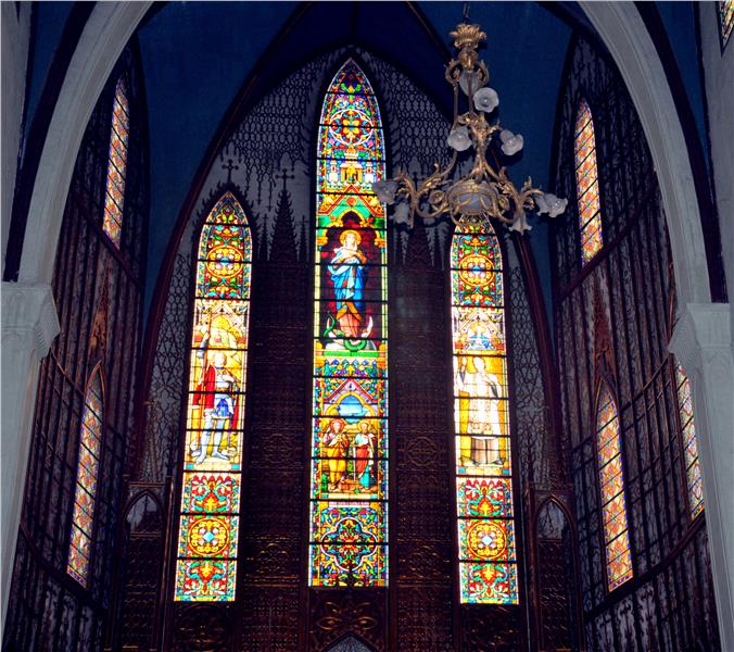 Stained glass in St. Joseph Cathedral