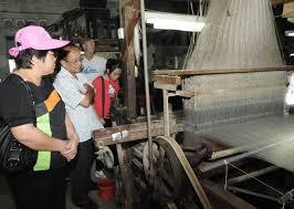 Tourists to Van Phuc Silk Village