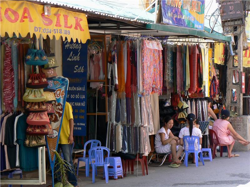 Van Phuc Silk Village - Street selling silk