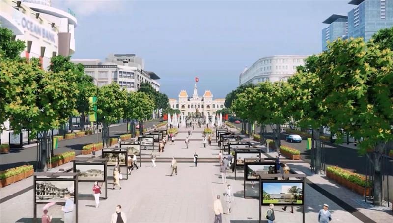 Plan of Nguyen Hue pedestrian square