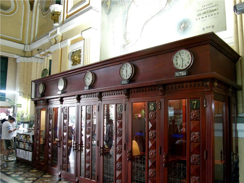 Antique phone booths in Saigon Central Post Office