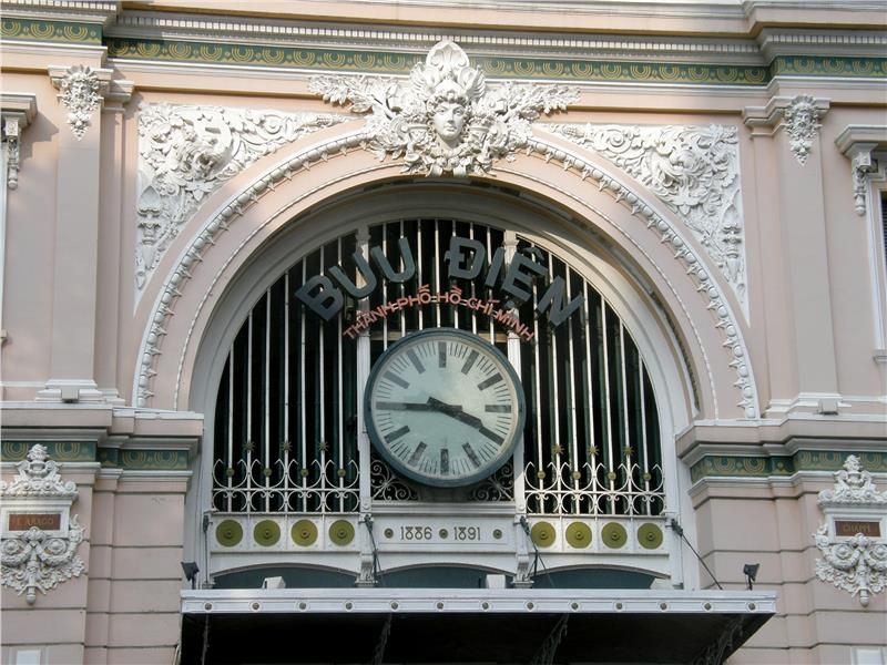 Clock outside Saigon Central Post Office