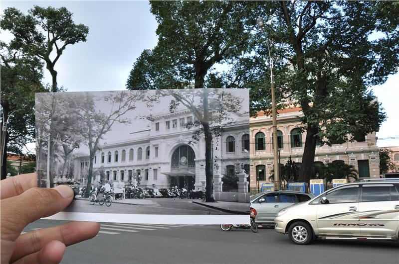 Saigon Central Post Office yesterday and now