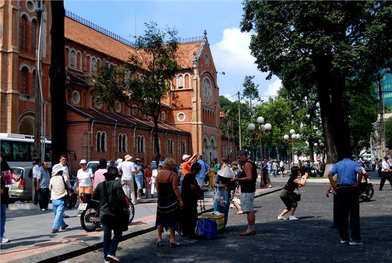Tourists to Notre Dame Cathedral Saigon