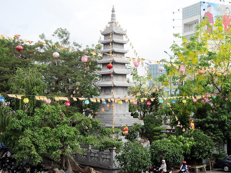 Stone tower inside Vinh Nghiem Pagoda
