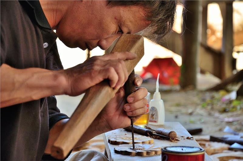 Woodcarving at Kim Bong Carpentry Village