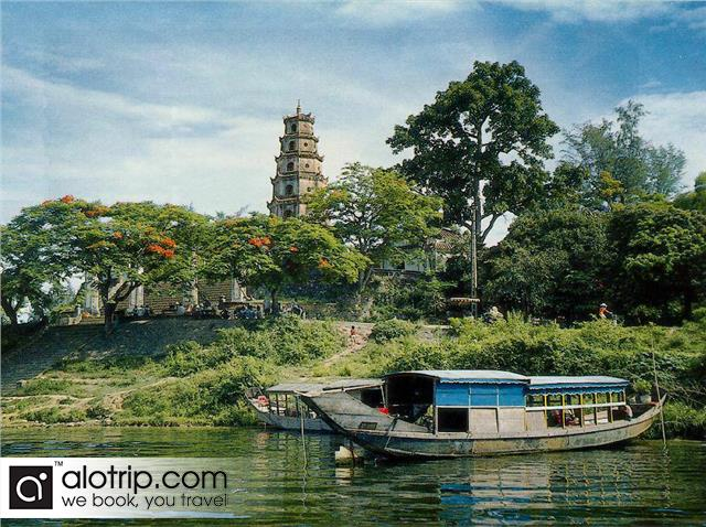 Thien Mu  pagoda seen from Perfume River