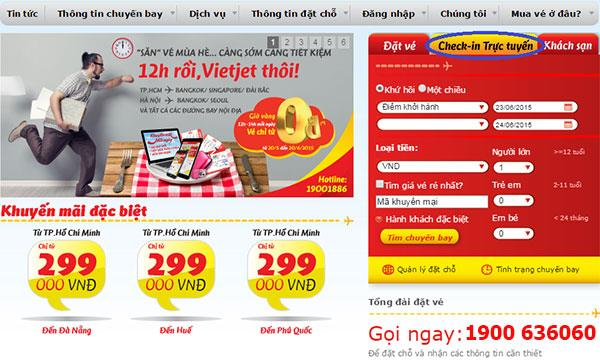 Thủ tục check in online Vietjet Air