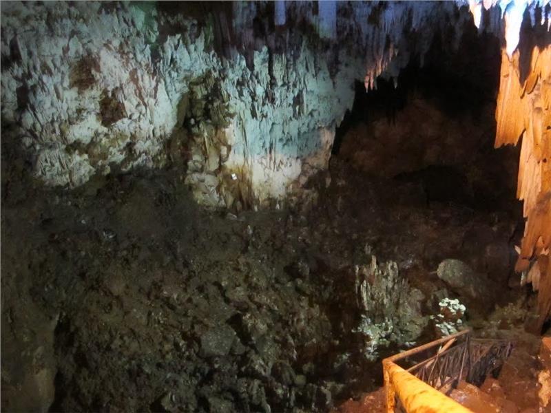 Abundant multi-shaped stalactites along corridor
