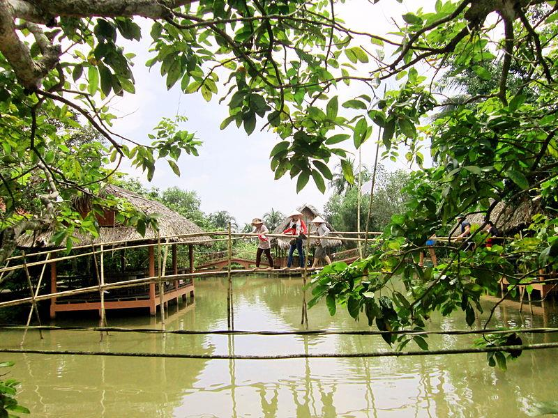 Monkey Bridge in Con Phung tourist area