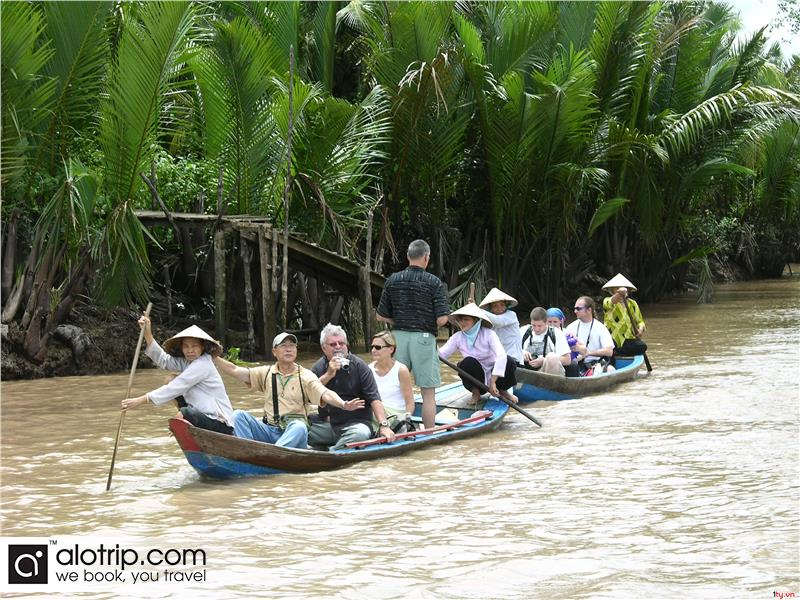Boat on Mekong River Delta