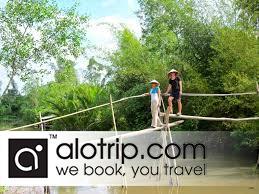 travelers climbing Monkey Bridge