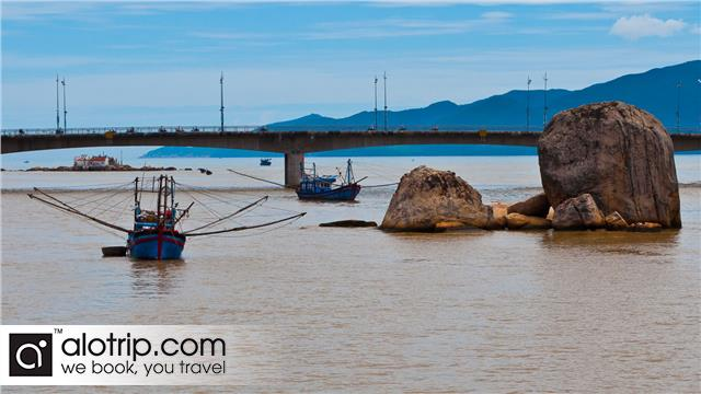 a corner of floating fishing village in Nha Trang