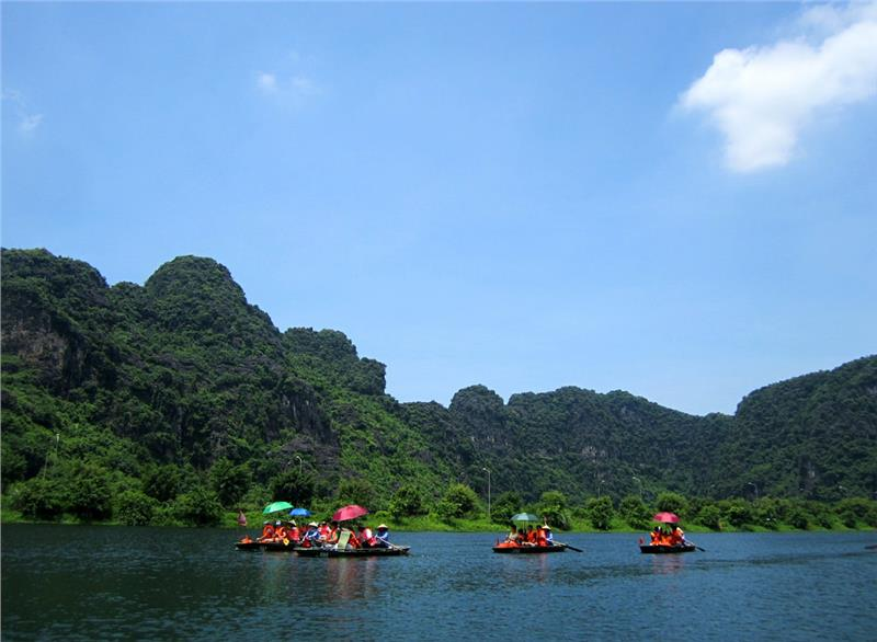 A scene in Trang An Landscape Complex in summer