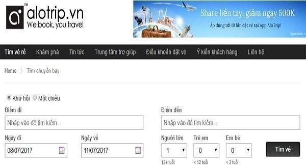 Săn vé máy bay giá rẻ 0 đồng ngay tại Alotrip.vn