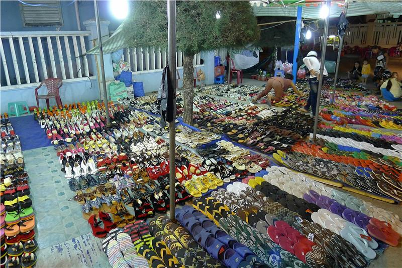Loads of shoes in Duong Dong Market - Phu Quoc