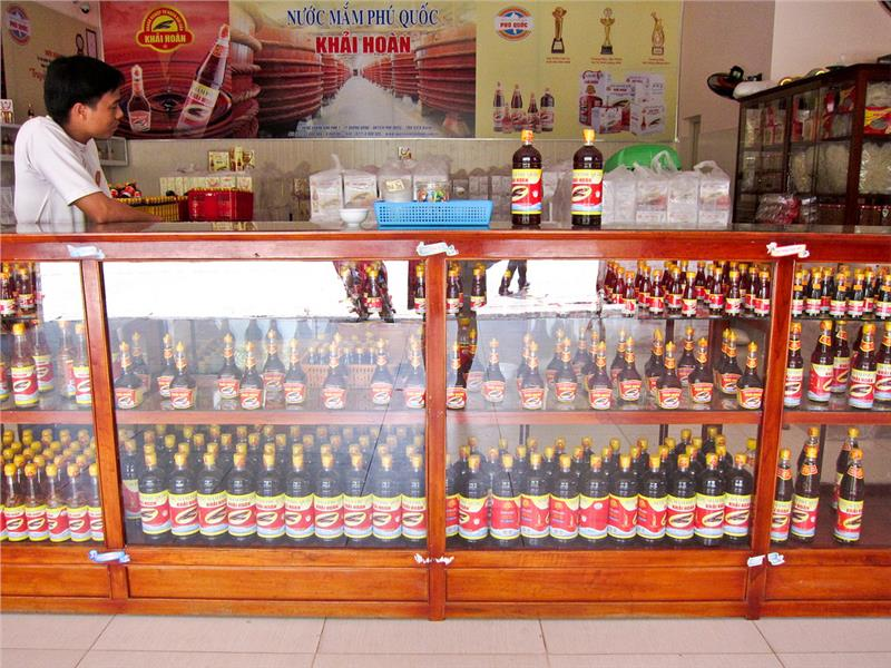 A shop selling Phu Quoc fish sauce