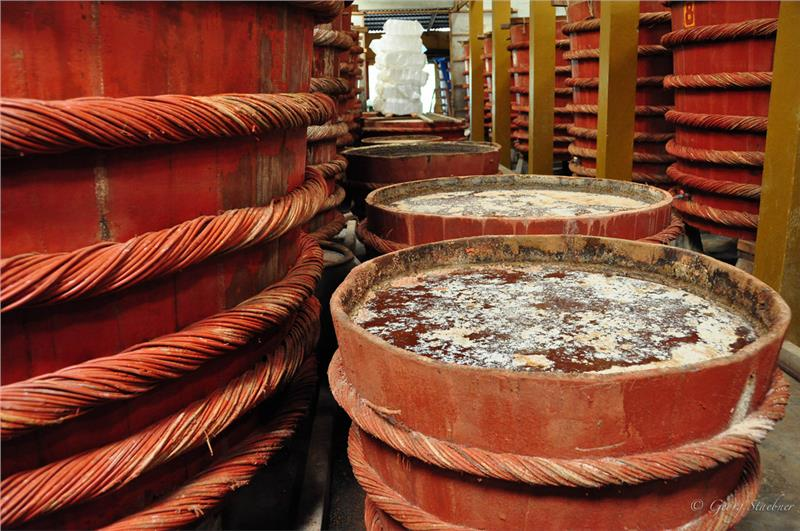 Inside a fish sauce factory Phu Quoc
