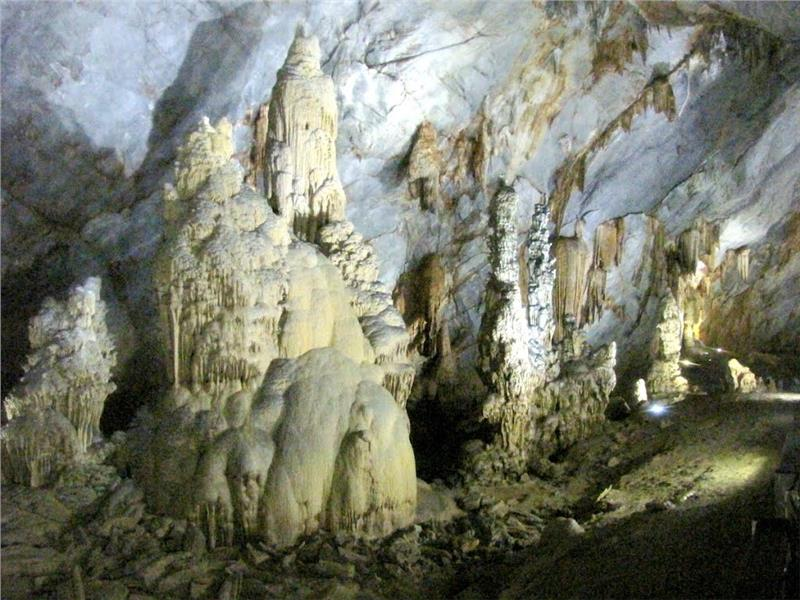 Stalagmites in Tien Son Cave