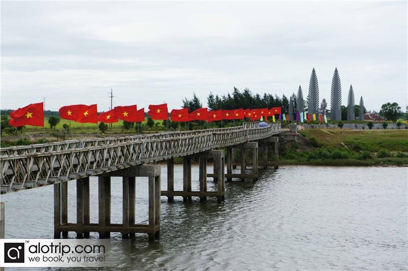 panorama of historic Hien Luong Bridge over Ben Hai River