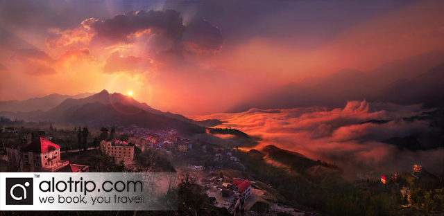 Sapa Town in the sunset