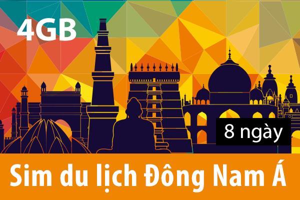 Sim du lịch Đông Nam Á - 8 ngày - 3GB - 4G – SA05