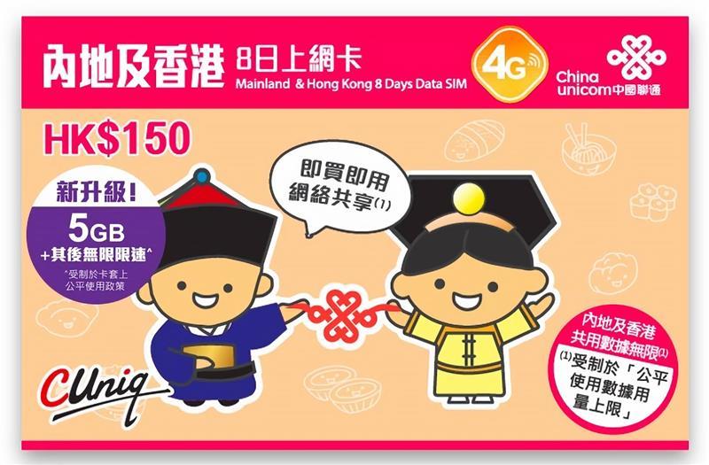 Sim du lịch Trung Quốc Hồng Kong - 8 ngày- 5GB - 4G