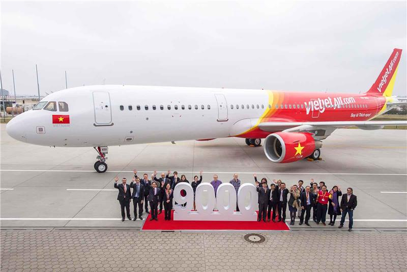 The 9000th Airbus aircraft joined Vietjet fleet