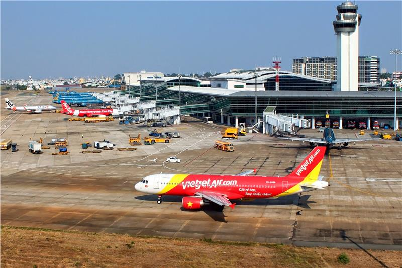 Vietjet aircraft at Tan Son Nhat International Airport