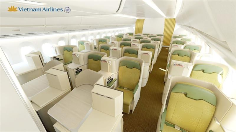 Business Class cabin of Vietnam Airlines A350 – 900