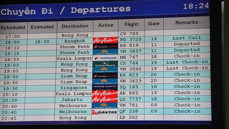 Indicator board at Tan Son Nhat International Airport