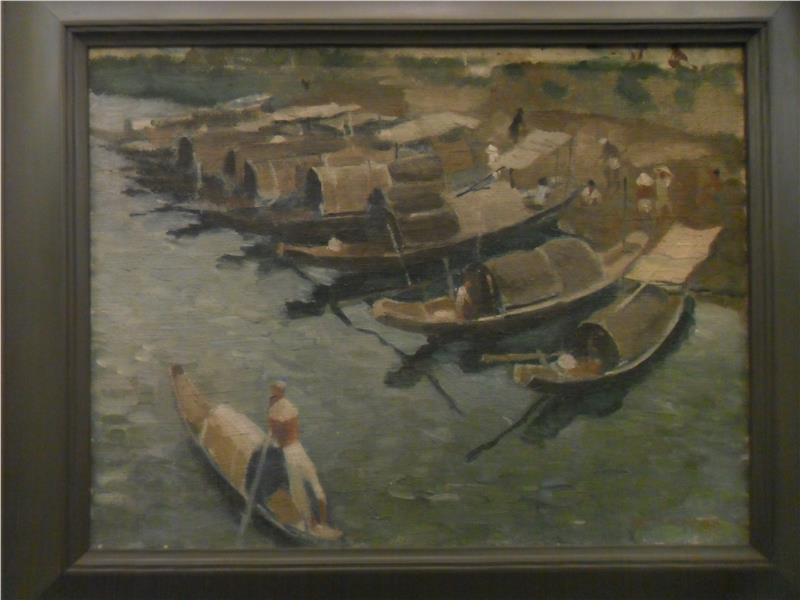 Boats in Perfume River of To Ngoc Van artist