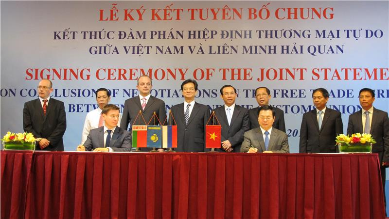 Signing Ceremony of Joint Statement of Vietnam - Customs Union FTA