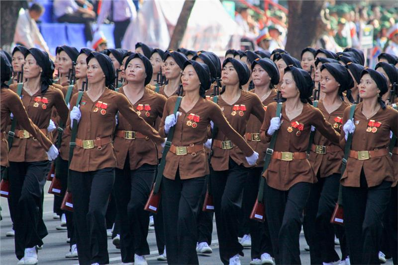 Parade of Vietnamese northern women soldiers