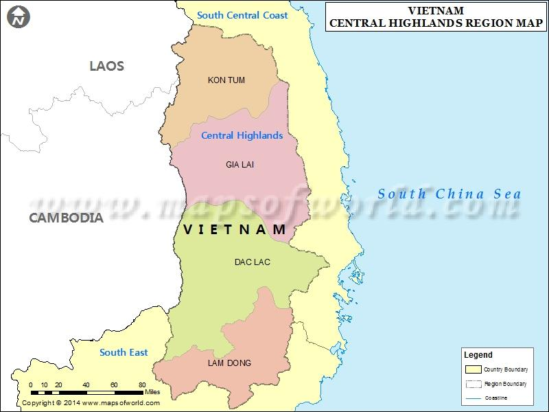 Central Highlands Vietnam geography overview